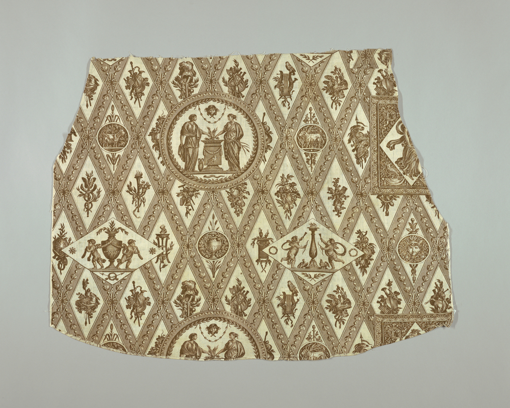 Medallions and cartouches, containing various mythological figures on a diamond grid of lozenges. In brown on white.