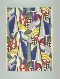 White cotton screen printed with an abstract design in cubist style. Predominant colors are red, green, purple, black, blue and yellow.