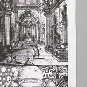 Design in black and white, a pastiche of engravings. Interiors of churches with a baboon and an ocelot.