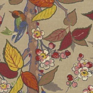 Straight tree trunk with branches bearing spring flowers and autumn leaves with birds.