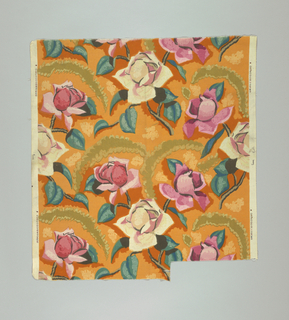 Polychrome block print on orange ground. Large pink and white roses with green-blue and tan leaves. Motif repeats in a one-half drop reverse. Pattern matches when selvages placed side to side.