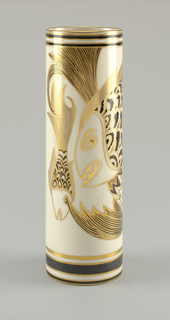 Tall straight-sided cylindrical vase.  Exterior decorated with black and gold bands at lip and at base.  Sides decorated with marine motifs: four stylized fish arranged asymmetrically over surface, with gilded outlines and black enamel scales.
