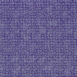 Small-scale allover pattern of rosettes in a close trellis framework in lavender on blue. In the manner of a crude wood-block print.
