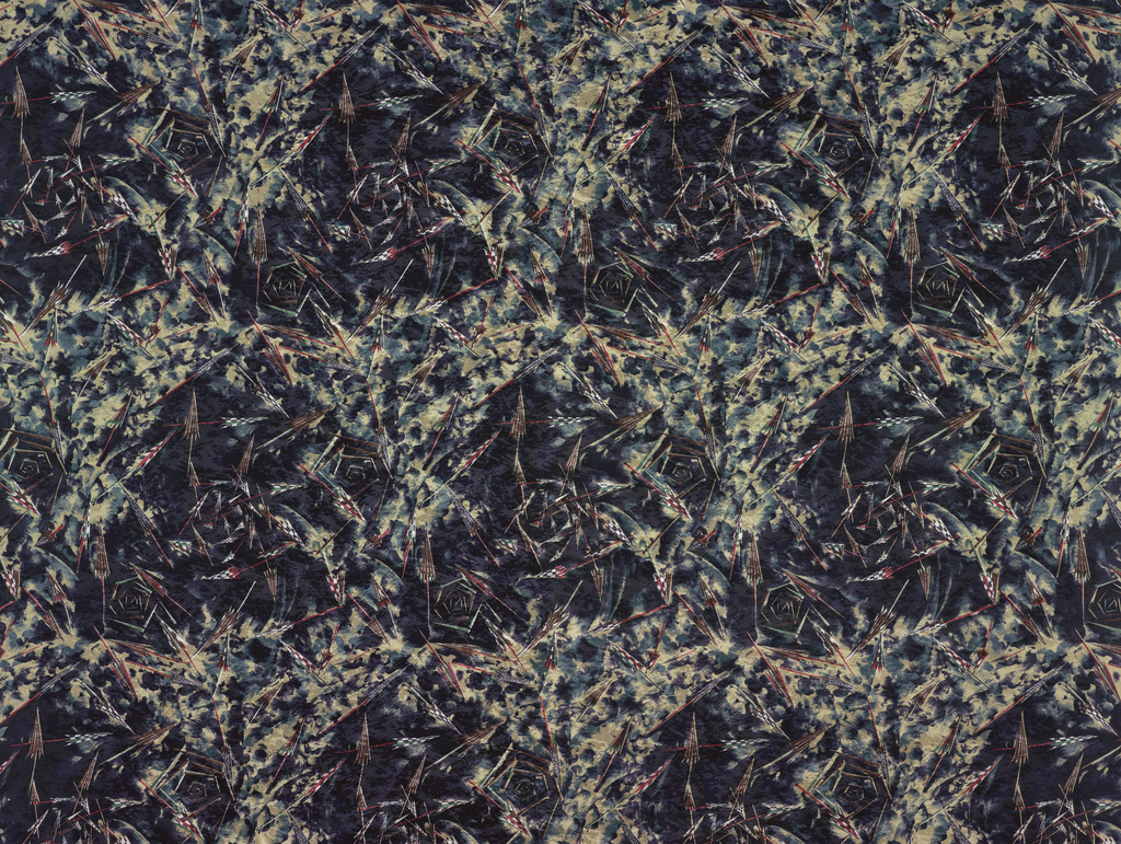 Deep colored fabric with a design showing folded umbrellas against a mottled background.