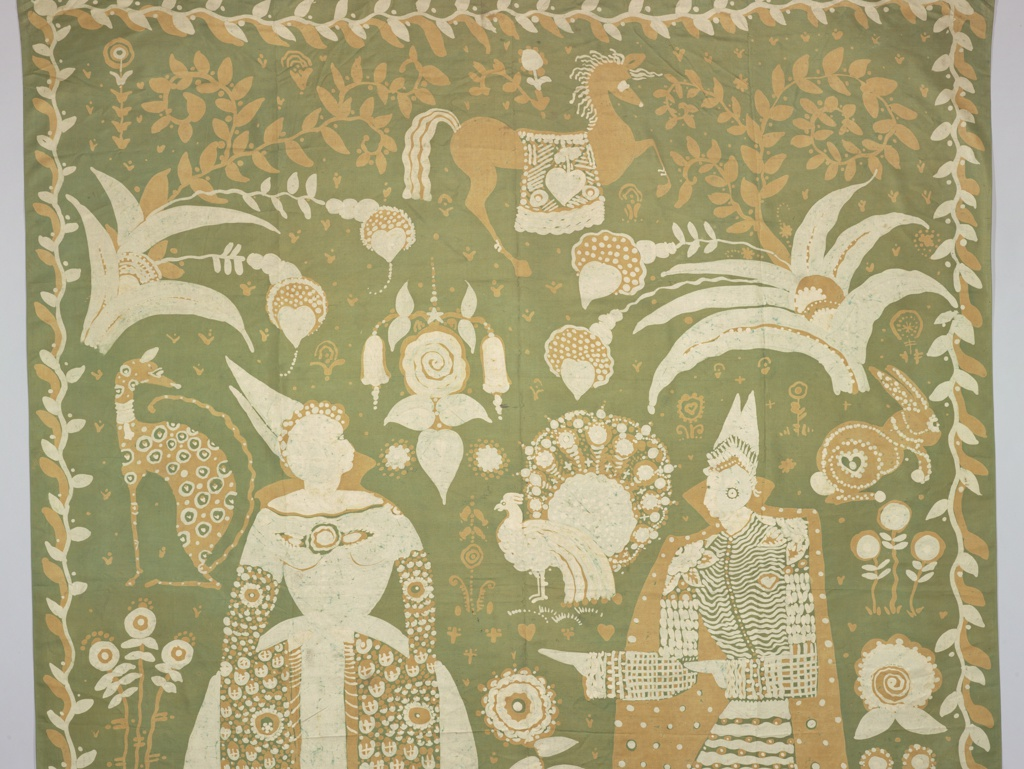 Large squarish silk panel batiked with green ground and decoration in orange and reserved in white. Large exotic male and female figures; the woman in a bell-shaped skirt. The figures fill the composition and scattered around them are floral and animal motifs. Pseudo-Indonesian style.