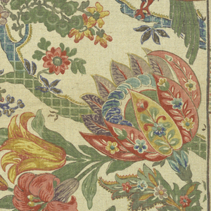 Polychrome block print on natural linen. Serpentine branches patterned in squares either blue or green, with three exotic birds, -  brown with yellow, green, and red and blue feathers sitting on branches. Fantasitc fruits and flowers grow on branches; on one flower each petal is patterned by stylized flowering plants in red, yellow, blue, and green, - red lily, yellow tulip, yellow and red artichoke, red cherries, yellow pomegranates, etc. Pattern repeats side to side. Condition: Soiled.