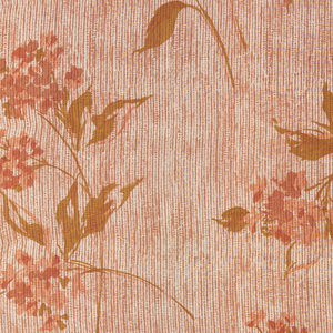 Sheer dress fabric with large sprays of hydrangea-like flowers in soft shades of rust and green on ground with printed texture in soft rust.