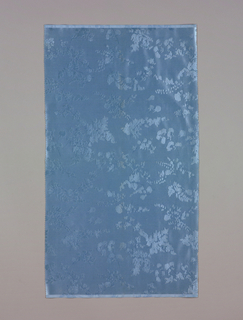 Light blue ground has an allover pattern of flowers, leaves, sprigs, and sprays in light blue.