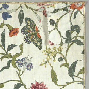 Reproduction textile based on an eighteenth century painted Chinese silk in the Textile collection (1906-21-33). Design has floral vines with yellow lilies, other orange, blue, pink, and white flowers, and butterflies on an ivory ground.