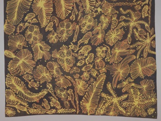 Batik-dyed silk with an allover, non-repeating pattern of organic forms, plants, animals and insects in yellow and orange on a black ground.