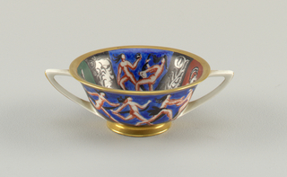 Double handle cup with panels showing running nudes.