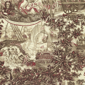 Panel of cotton printed in dark brown and red, probably a combination of copper plate and block printing.  Red appears to be added over dark brown.  Scenes from the death and burial of Lord Nelson with inscriptions.  Both selvages are present in which there are three blue threads.