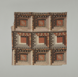"Two fragments of printed cotton imitating patchwork: rows of squares of two types each traditionally called ""log cabin"" in a stepped arrangement of bars enclosing a central square. Each shape has a small scale dotted or floral pattern (several Indian Paisley type) in dark browns and rust-reds."