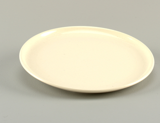 Glazed white dinner plate.