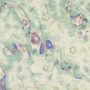 Ribbons of film and shapes resembling a camera shutter and brushstrokes. Green, two shades of blue, purple and brown on cream. The same camera shutter and seashell shapes are on the woven ground.