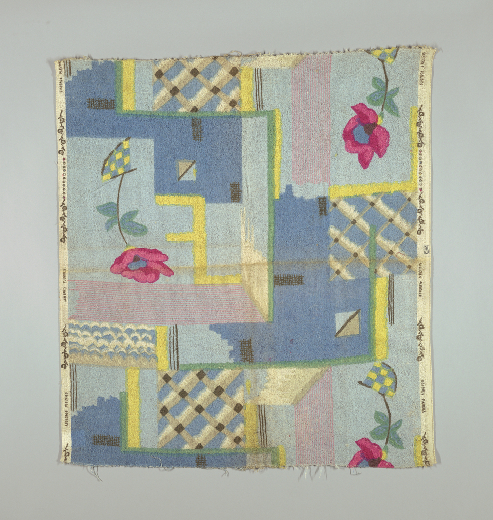 Abstract design of pink roses on blue and yellow geometric forms.