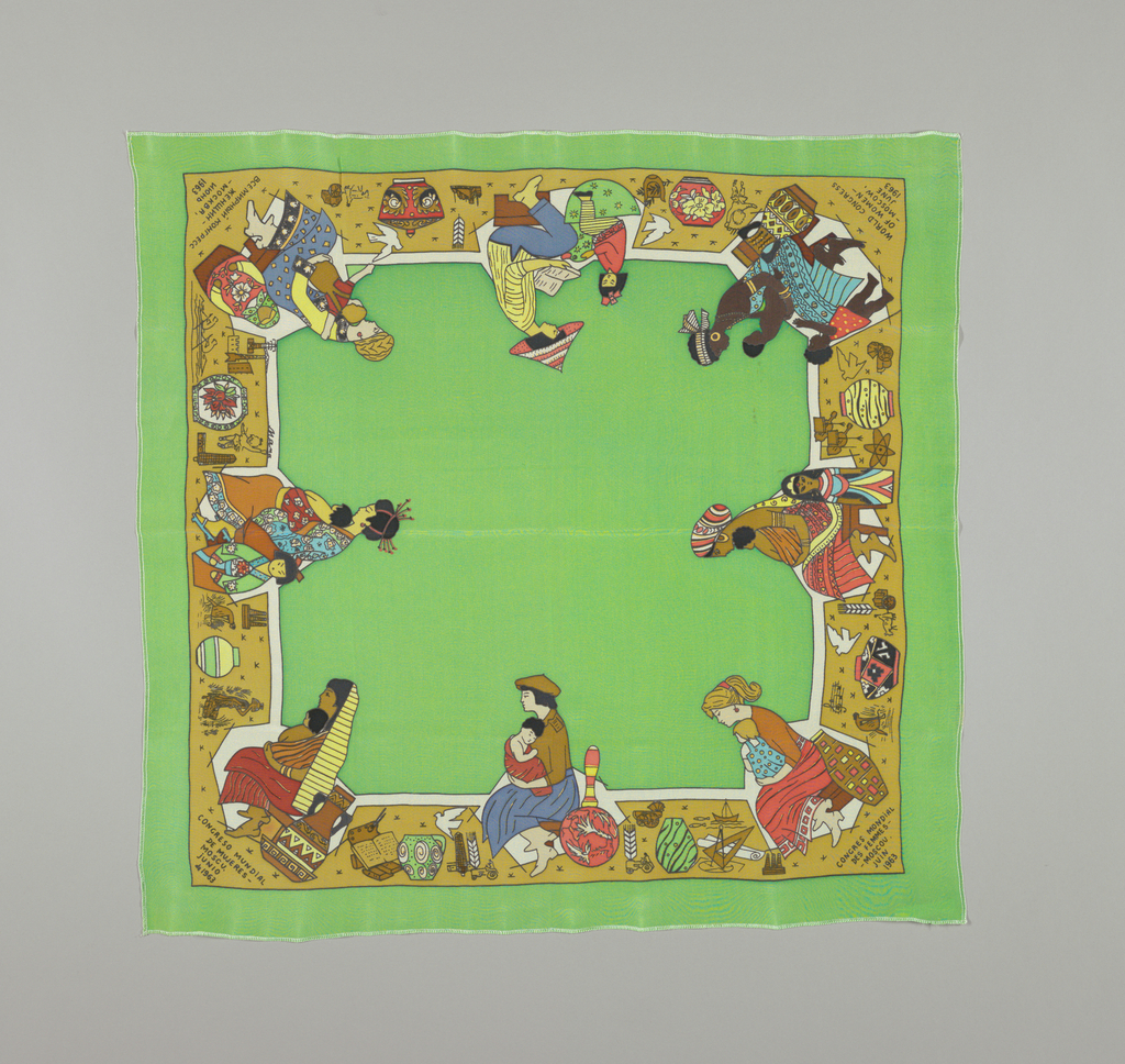 Border of women with children from various countries around the world. Solid color field is bright green. All edges machine sewn.