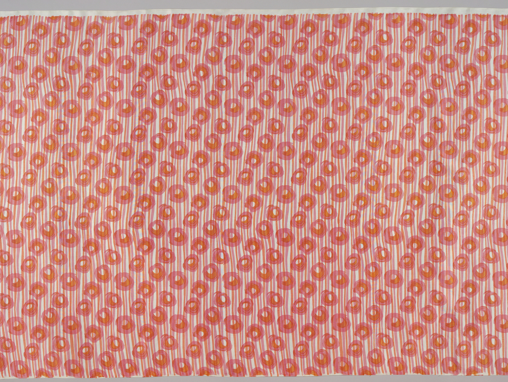 Sheer dress fabric with impressionistic roses brushed in pink and orange on white ground and horizontally banded with narrow pink and ornage lines.