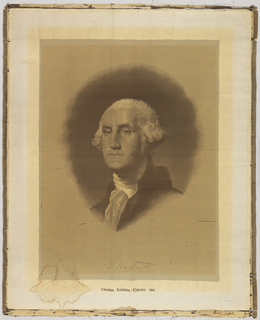 "Portrait of George Washington after a painting by Gilbert Stuart. Woven in black, gray and beige on a white ground. Facsimile of a signature ""G Washington"" woven at the bottom."