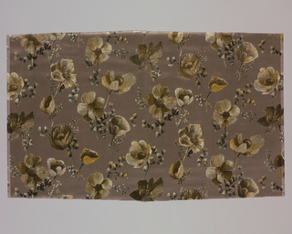 Dark grey ground has an allover pattern of anemones in tones of gray, brown, yellow and white.