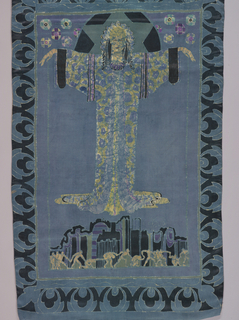 Blue panel with a deep black and blue border has a large female figure with raised arms that floats above a stylized cityscape. In front of the buildings are figures holding hands and that appear to be dancing.