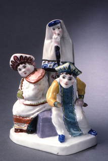 Three figures, two seated, one standing behind: standing figure with shawl over head, seated figures wearing kokoshniks.