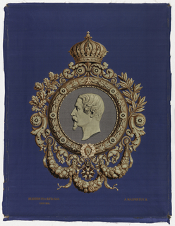 "Woven portrait of Napoleon III in profile in a richly framed circular medallion, initial ""N"" framed in laurel leaves at bottom. Swags, oak leaves, and arabesques surround the medallion which is surmounted by the imperial crown. Woven for the Exposition Universelle of 1855 in Paris."