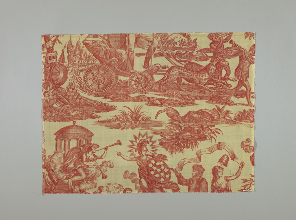 """One of four fragments of cotton, copperplate printed in red design known as American Independence, Apotheosis of Franklin, etc.  the design shows Washington in a chariot drawn by leopards, standing and behind him a female figure holding a shield on which """"American Independence 1776"""" is inscribed.  Franklin is shown with a female figure carrying a liberty cap on the staff; above them a scroll: """"Where Liberty Dwells There is my Country."""""""