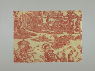"One of four fragments of cotton, copperplate printed in red design known as American Independence, Apotheosis of Franklin, etc.  the design shows Washington in a chariot drawn by leopards, standing and behind him a female figure holding a shield on which ""American Independence 1776"" is inscribed.  Franklin is shown with a female figure carrying a liberty cap on the staff; above them a scroll: ""Where Liberty Dwells There is my Country."""