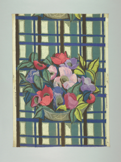 Multicolored block print of a grey-green bowl with large red, pink and lavender flowers with leaves in two shades of green. Bowl is placed on a plaid-like striped ground of blue-green, grey-green, blue, and black.