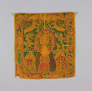 Resist-dyed silk with metallic trim. Central motif of Queen Esther(?), lower left has a seven-branch candlestick, and lower right has a single candle; upper right and right side has a running animal. Border contains various religious motifs including a chalice, vase, crown, etc. Colors are bright orange, yellow, green, red, and brown.