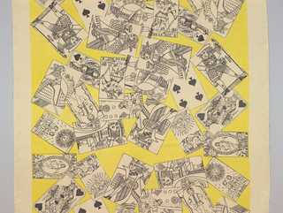 Straight repeat of overlappping playing cards and tarot cards in black and white on a yellow ground.
