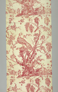 Printed textile from Bromley Hall with nearly two repeats of a flowering tree stump with two birds in it with a pair of ducks on the ground. Red on white ground.
