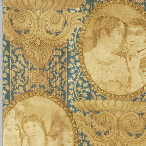 Fragment of printed, glazed cotton with off-set ovals set on ornate capitals with scrolling acanthus leaves. Each oval contains a portrait: in the first column, three fashionable young women; in the center, a young couple, she smells a flower, he is in uniform and holds a ring between his thumb and index finger; in the third column, two women, one with her hand on the other's shoulder. The background is filled with delicate foliage. In blue-green and light brown on white.