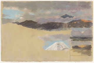 Four studies of Mount Chimborazo: top peak, rising in background over clouds and rest of mountain range; lower foreground, snow-covered peak surrounded by clouds and sky; bottom right, two adjacent studies framed by graphite lines. Bottom study, ochre colored foreground with mountainous landscape and green fields.