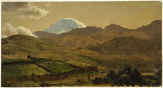 Snow-covered peak rises in background behind a range. Cultivated mountain country is shown in foreground, a hacienda in bottom right, a man with red serape at bottom center.