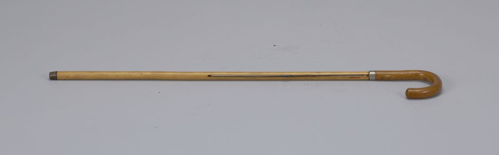 Cane with polished crook handle and short steel tip; extendable map of the city of Boston housed in shaft.
