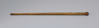 American flag cane, circa 1890, with polished ball knop handle, the flag withdrawing from the shaft interior, tip missing