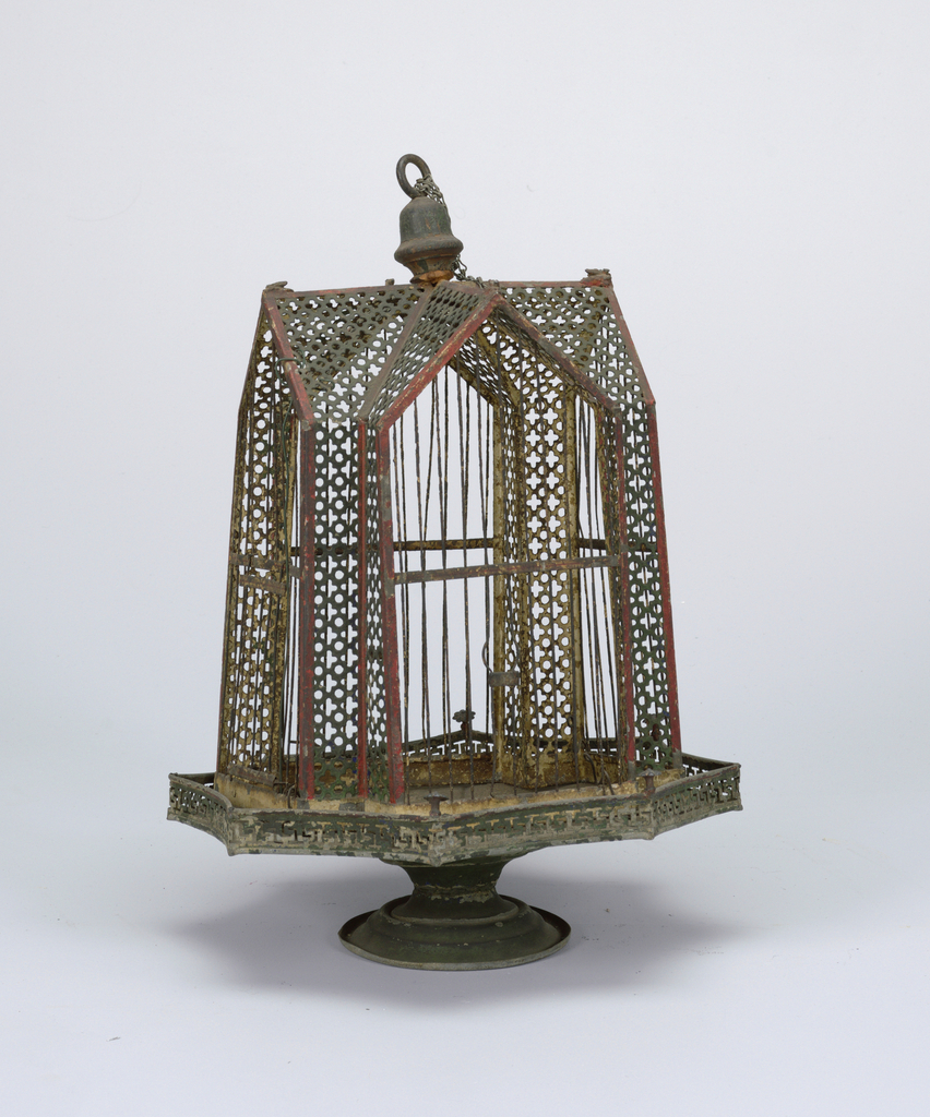 Hanging type. Cruciform shape. Pierced metal sides painted green and red. Cage attached to base by four wire loops.  (B) Base is of inverted umbrella shape, on flaring circular foot. Eight groups of painted flowers on underside.
