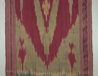 Silk warp ikat in shades of dark red, green, blue and yellow showing a large central motif. Sides ornamented with two narrow stripes of same coloring.
