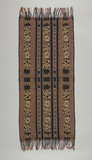 Floral stripe alternating with smaller-scale scrolling vine which are separated by plain blue stripes. The pattern is horizontally symmetrical.