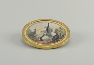 Part of set of four plaques depicting allegories of the four continents. Bird life from the four parts of the world is represented on each.
