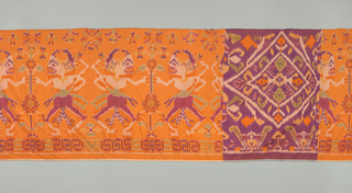 "Large-scale horizontal pattern of stylized dancers, in polychrome on bright orange ground, with central portion showing geometric motifs on purple ground. Both panels have one selvedge and one sewed edge. Possibly warp-printed, machine woven ""yard-goods"". The two were once sewed together to make a sari."