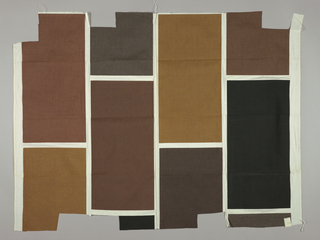 White plain weave printed with large vertical rectangles in black, raw umber, dark brown, red-brown, brown, and tan. Number 481.