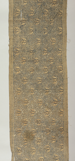 Long narrow rectangluar sash or shoulder cloth (selendang) in blue and brown. Field shows all-over pattern of two birds facing a central plant form enclosed in lattice pattern. Borders show a narrow, fine geometric pattern.