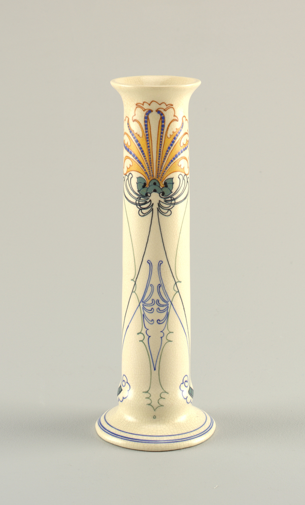One of a pair; columnar vase with simple, symmetrical floral decoration with linear foliage, all in green, yellow, blue, and red-orange.