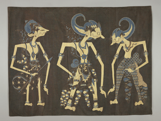 Batik textile showing three wayang puppet figures (traditional flat cut-out and pierced leather puppets) in typical attitudes. Two face each other and the other away, each in different manner of dress. Medium blue and dark brown on ivory cotton fabric. The ground is dark brown.