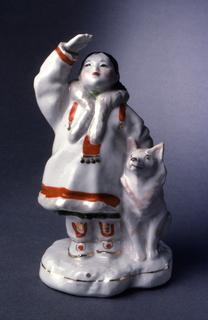 Yakut Girl with Dog Figure