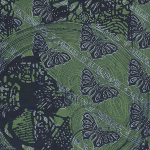 """One of a group of fabrics representing the Silver Jubilee of King George and Queen Mary of England in 1935. Diagonal bands of butterfies and the words """"LABALABA TO BA DIGBOLEGUN"""", in pale and dark blue on a green ground. Aonther pattern in dark blue is superimposed over this, with a central medallion with two crowned heads and an all-over pattern of leaves. A band at the bottom bears the inscription """"IREGBOGBOKO NSEYINMI. S.A.1967"""" above alternating squares with two birds or butterflies."""