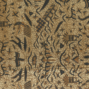 """Batik textile, possibly a long sarong (kain panjang), showing traditional """"semen"""" (non-geometric forms like flora and fauna) design in blue, white and tan."""